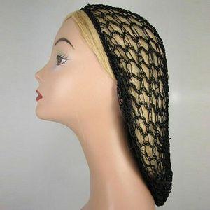 Accessories - Vintage style Black Snood Hair Net Crochet